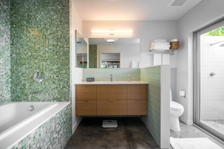 Ванная в  цветах:   Белый, Светло-серый, Серый, Темно-зеленый.  Ванная в  стиле:   Минимализм.