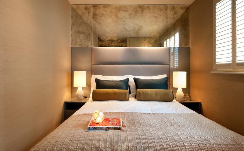 Спальня в  цветах:   Бежевый, Коричневый, Светло-серый, Темно-зеленый.  Спальня в  стиле:   Минимализм.