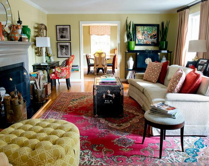 Гостиная в  цветах:   Бежевый, Белый, Коричневый, Черный.  Гостиная в  стиле:   Эклектика.