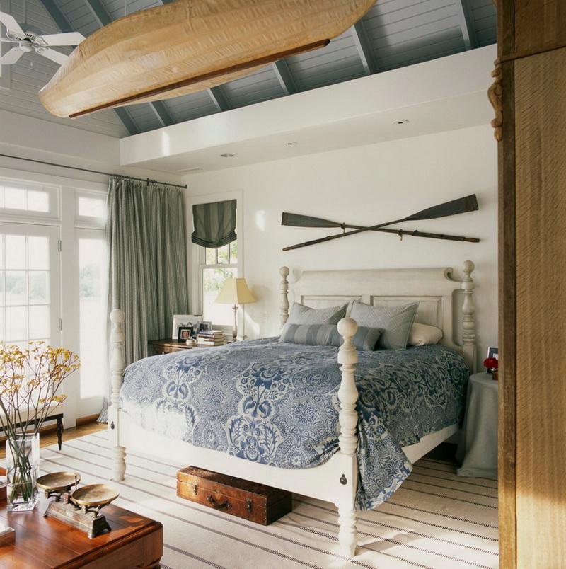Спальня в  цветах:   Белый, Коричневый, Светло-серый, Темно-зеленый.  Спальня в  стиле:   Кантри.