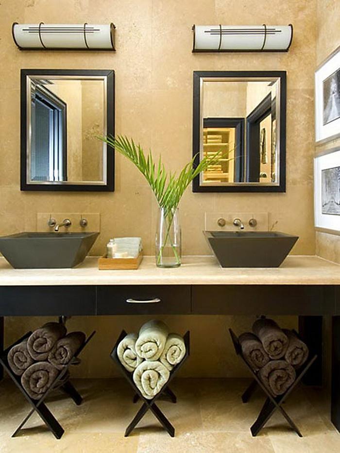 Ванная в  цветах:   Бежевый, Желтый, Темно-зеленый, Темно-коричневый.  Ванная в  стиле:   Арт-деко.