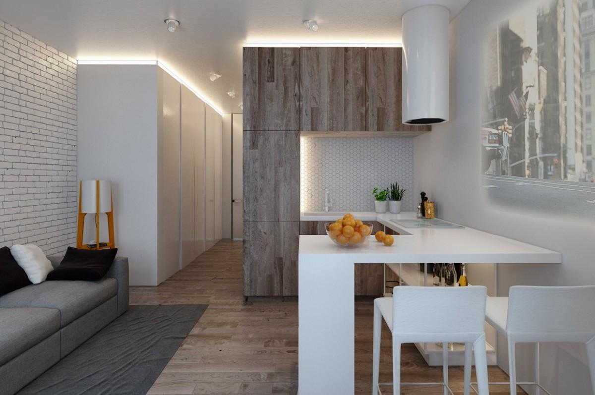 Кухня/столовая в цветах: Бирюзовый, Коричневый, Светло-серый, Серый. Кухня/столовая в .