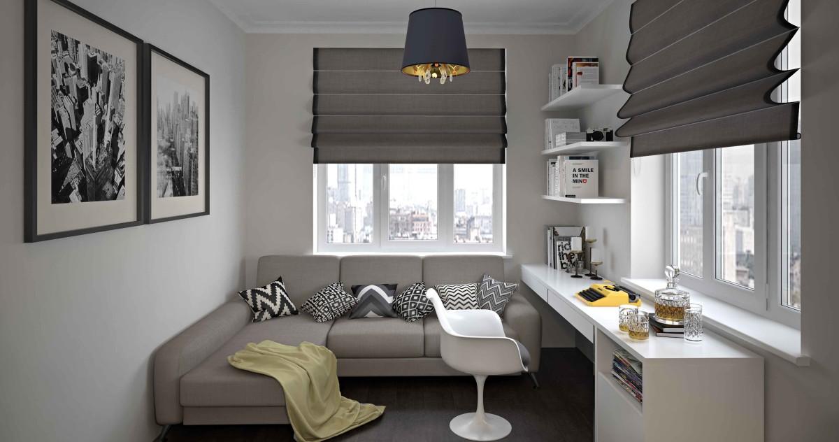 Квартира площадью 32 метра: спальня, кухня, гардероб, санузел и рабочая зона