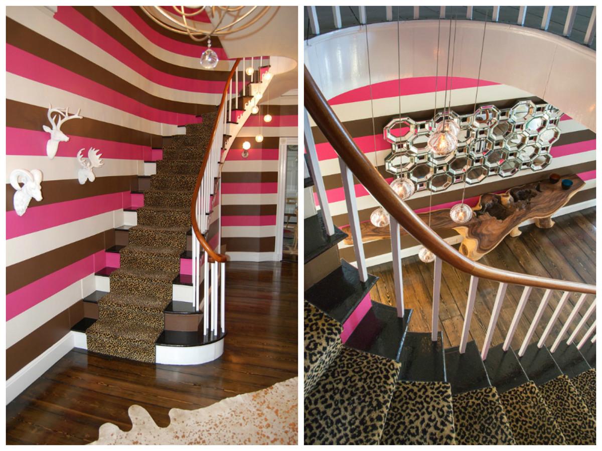 Гостиная, холл в цветах: черный, белый, розовый, темно-коричневый. Гостиная, холл в стиле арт-деко.