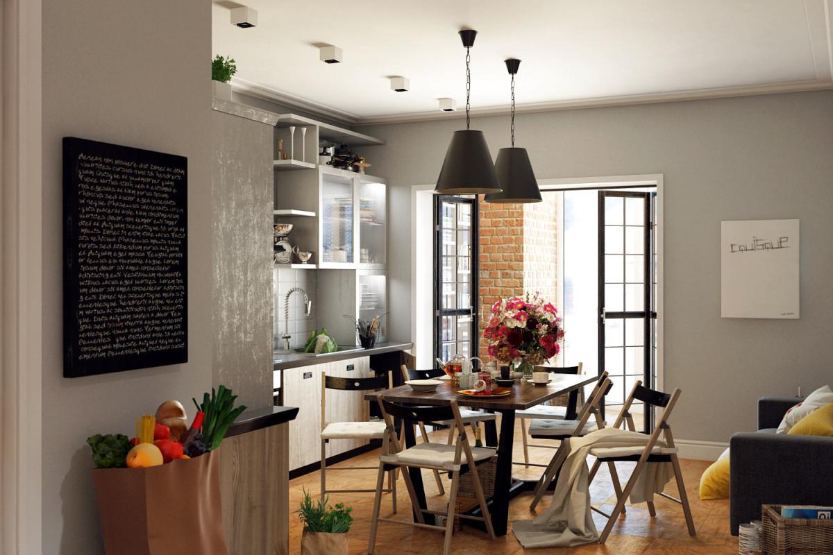 Кухня в цветах: черный, серый, светло-серый, белый, коричневый. Кухня в стилях: лофт, эклектика.