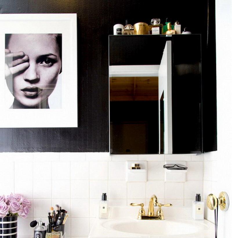 Ванная в цветах: черный, белый, лимонный. Ванная в .