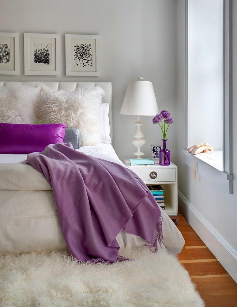 Мебель и предметы интерьера в цветах: серый, белый, сиреневый, темно-коричневый. Мебель и предметы интерьера в стиле эклектика.