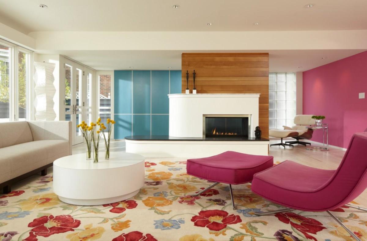 Гостиная, холл в цветах: красный, белый, коричневый. Гостиная, холл в стиле арт-деко.