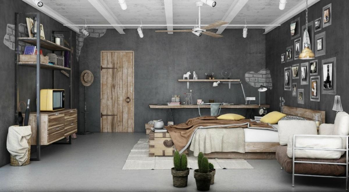 Мебель и предметы интерьера в цветах: серый, светло-серый, белый, коричневый, бежевый. Мебель и предметы интерьера в стилях: лофт, эклектика.