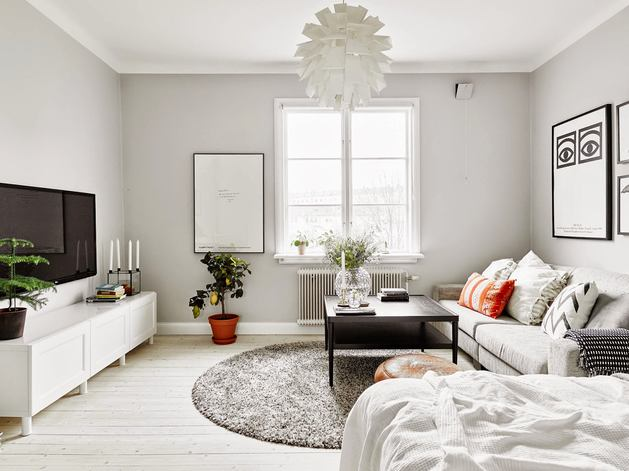 Гостиная, холл в цветах: черный, серый, белый, темно-зеленый. Гостиная, холл в стиле скандинавский стиль.