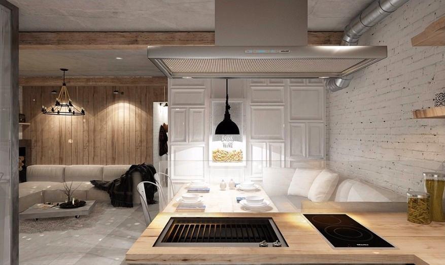 Кухня в цветах: черный, серый, светло-серый, белый, бежевый. Кухня в стилях: модерн и ар-нуво, лофт.