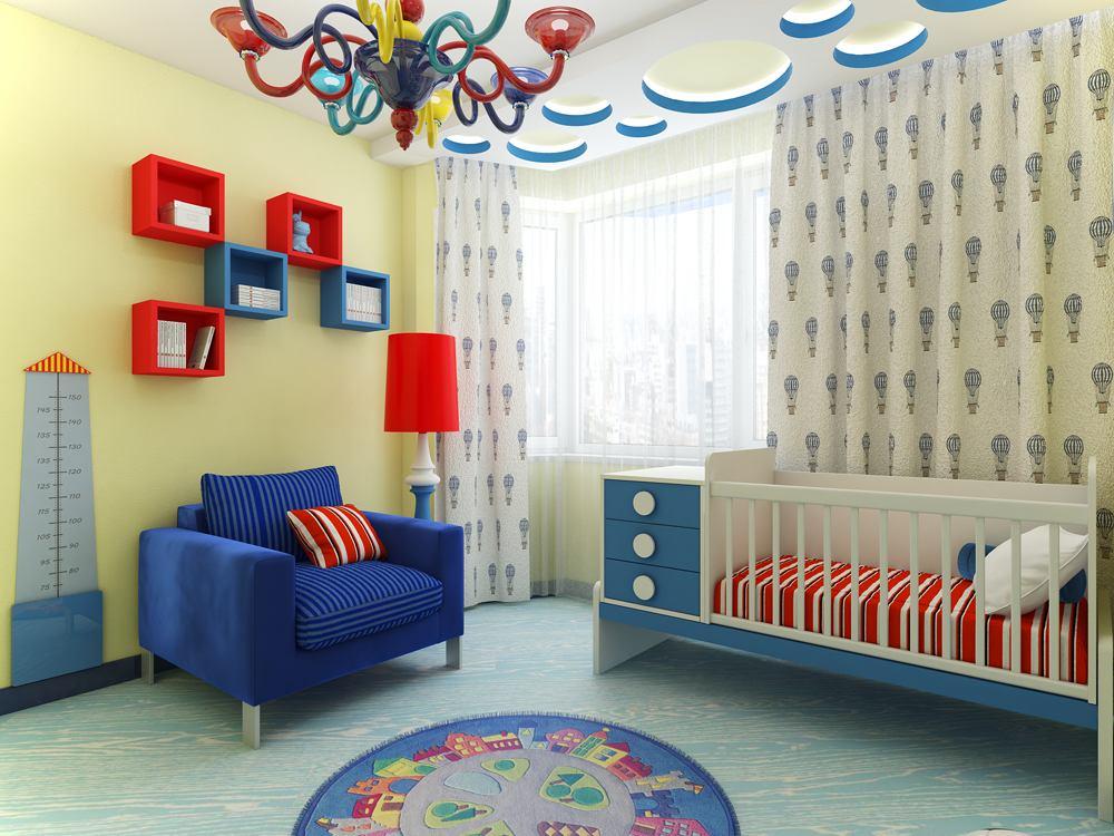 Детская в цветах: голубой, бирюзовый, фиолетовый, серый, светло-серый. Детская в стиле эклектика.
