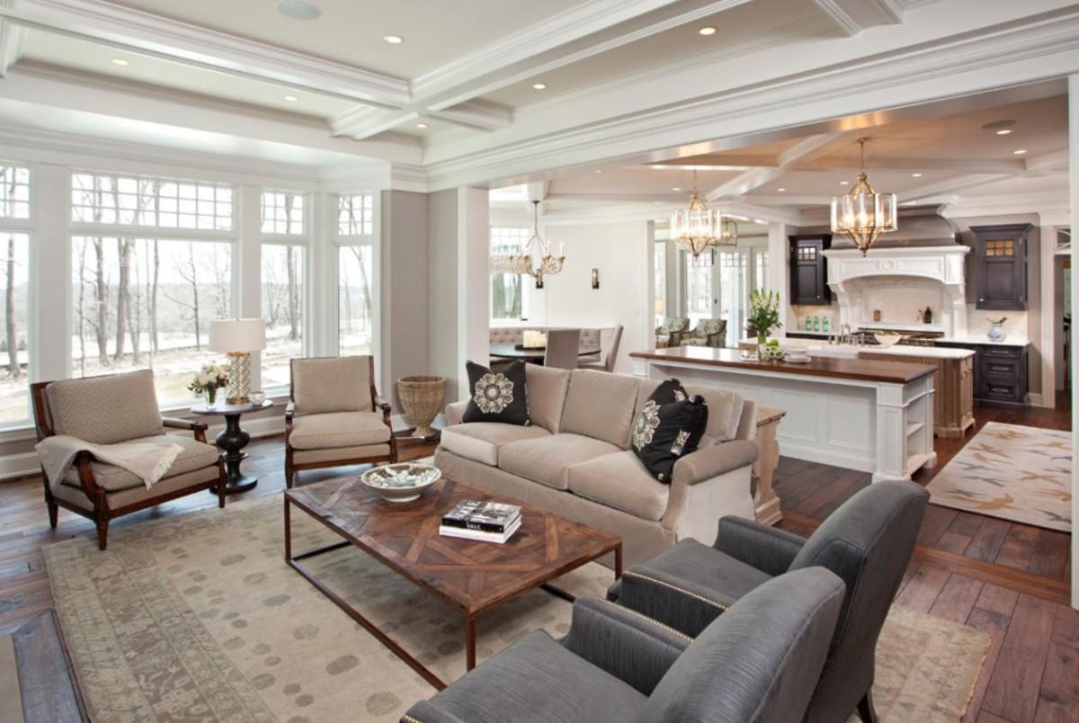 Гостиная, холл в цветах: серый, белый, коричневый, бежевый. Гостиная, холл в стиле американский стиль.