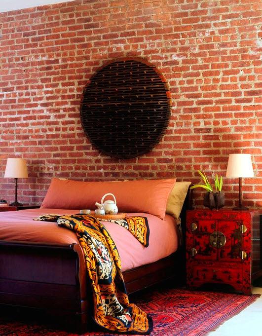 Спальня в цветах: черный, бордовый, коричневый, бежевый. Спальня в стиле эклектика.