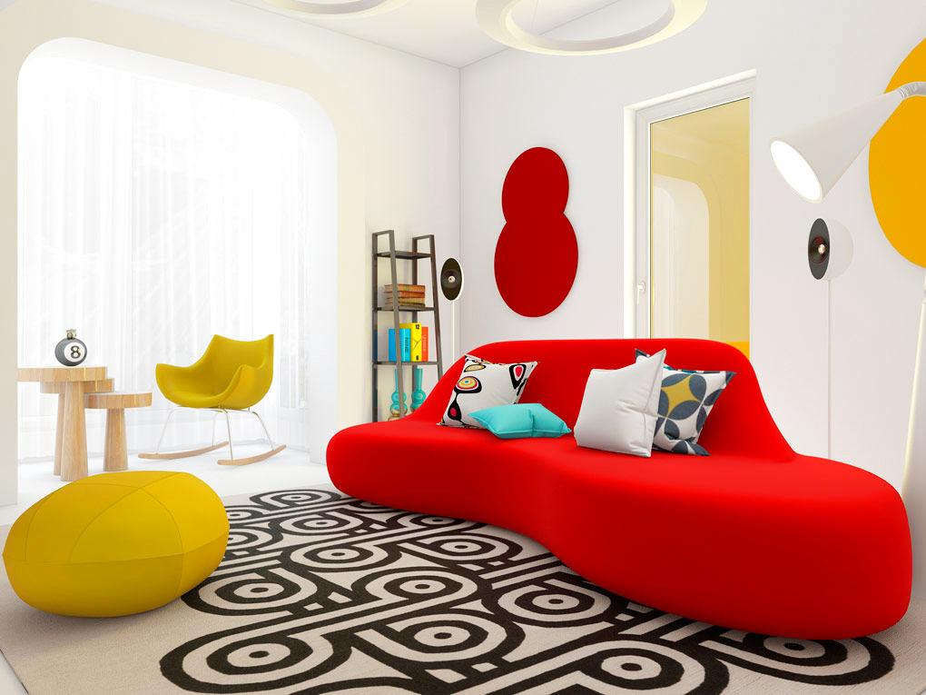 Гостиная, холл в цветах: красный, желтый, серый, белый. Гостиная, холл в стиле эклектика.