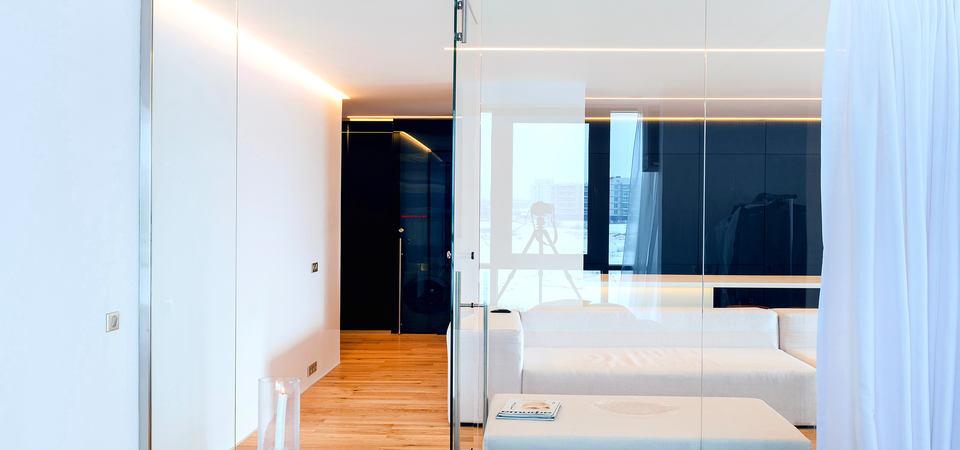 Москвичи решились на экспериментальный дизайн: стеклянная квартира