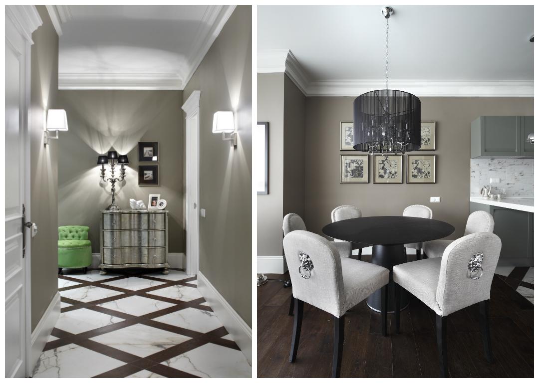 Прихожая в цветах: черный, серый, светло-серый, белый, коричневый. Прихожая в стиле эклектика.