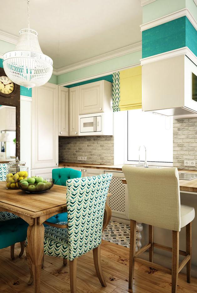 Кухня в цветах: светло-серый, белый, бежевый. Кухня в стиле эклектика.