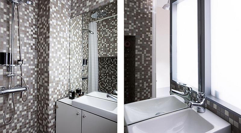 Туалет в цветах: черный, серый, светло-серый, белый. Туалет в стиле хай-тек.