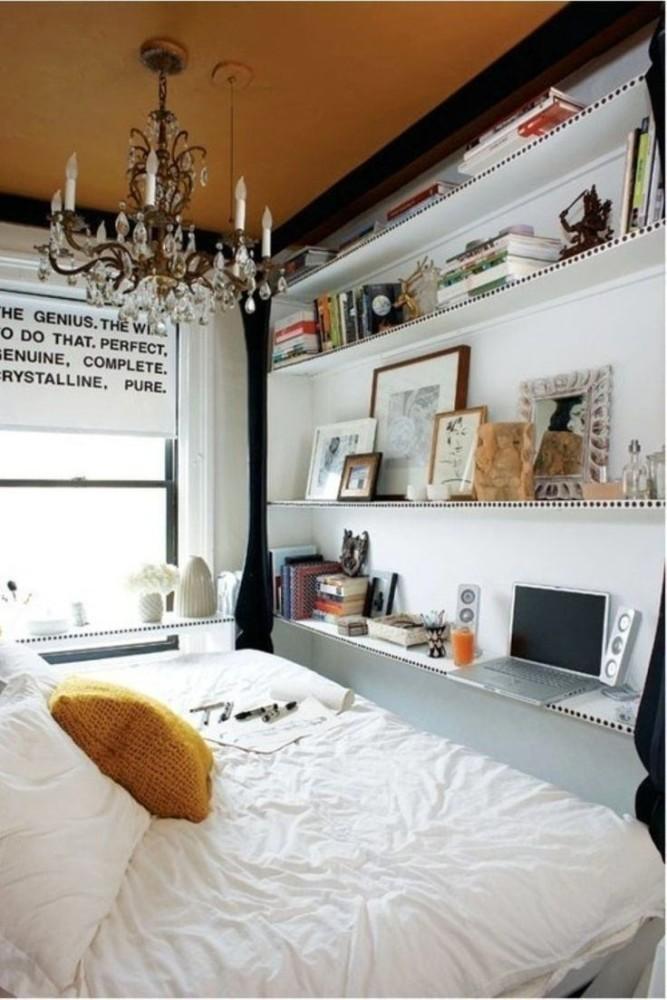 Спальня в цветах: черный, серый, белый, бежевый. Спальня в стилях: эклектика.