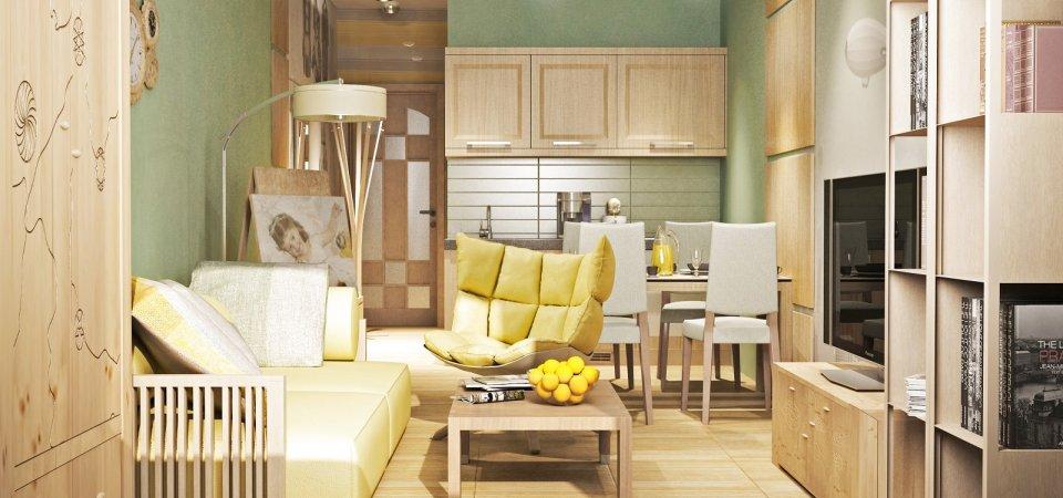 Очень маленькая финская квартира-студия, где есть куда всё поставить