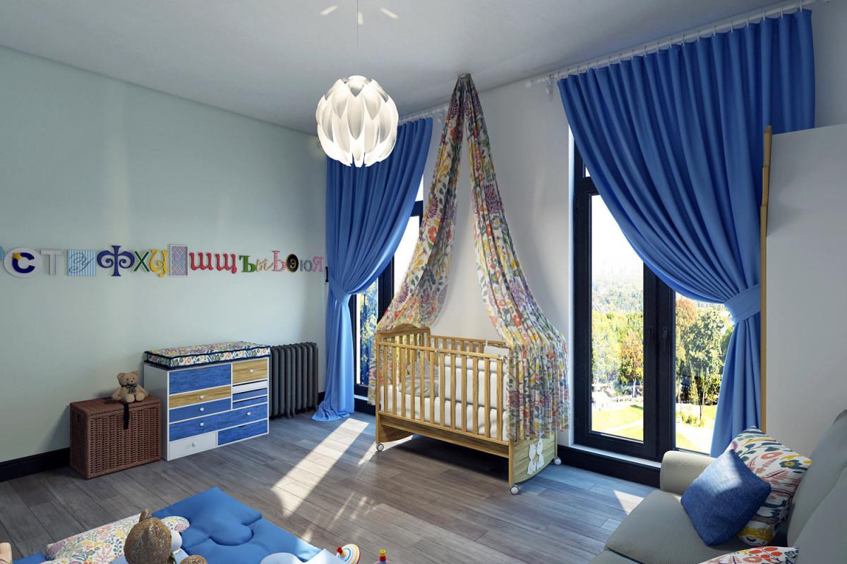 Детская в цветах: бирюзовый, фиолетовый, серый, светло-серый, белый. Детская в стиле лофт.