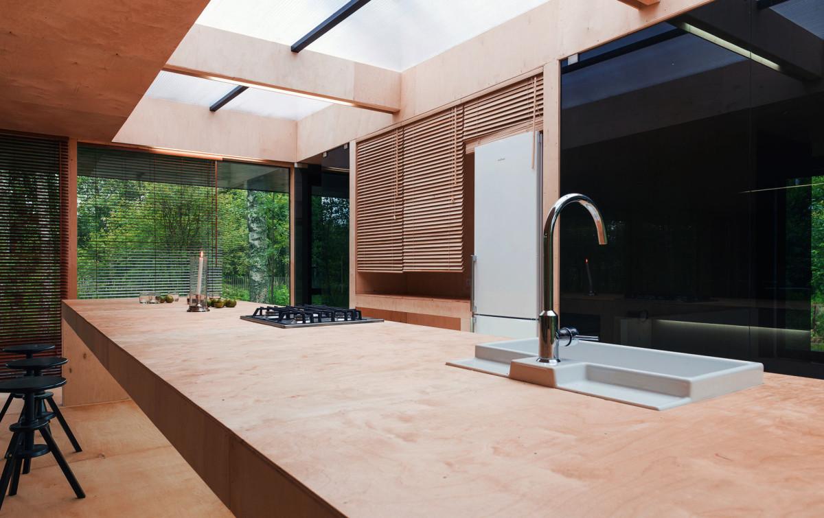 Кухня в цветах: черный, темно-коричневый, коричневый, бежевый. Кухня в стилях: минимализм, экологический стиль.