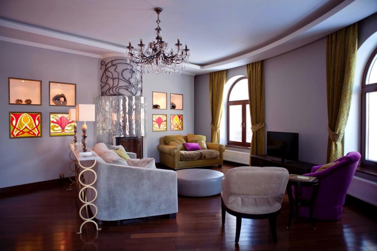 Гостиная, холл в цветах: черный, серый, светло-серый, бежевый. Гостиная, холл в стиле модерн и ар-нуво.