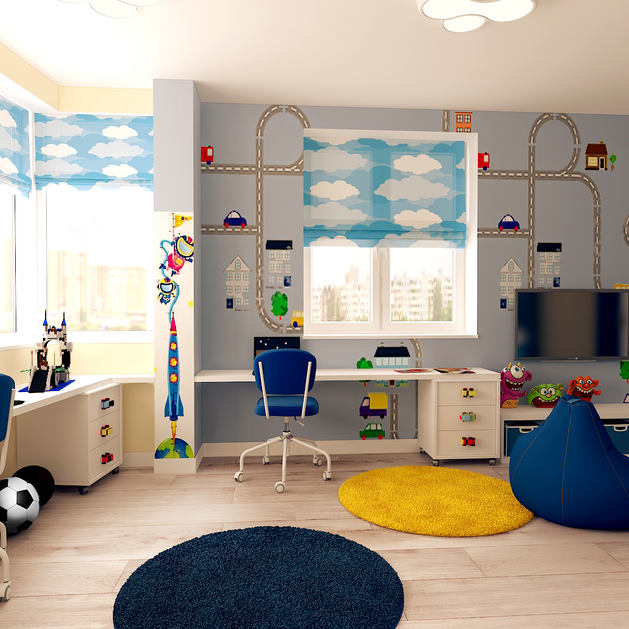 Детская в цветах: голубой, светло-серый, белый, лимонный, сине-зеленый. Детская в стиле минимализм.