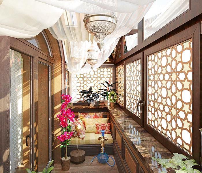Балкон, веранда, патио в цветах: красный, оранжевый, бирюзовый, серый, светло-серый. Балкон, веранда, патио в стиле ближневосточные стили.