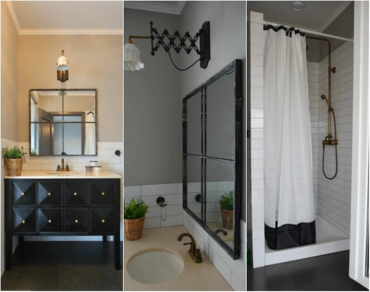 Ванная в цветах: черный, серый, светло-серый, белый, бежевый. Ванная в стиле кантри.