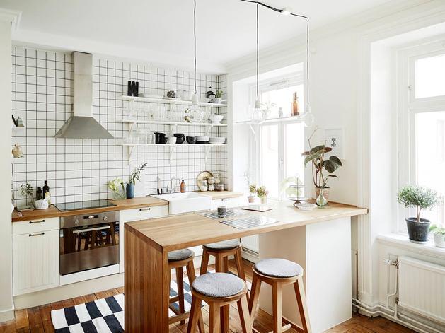 Кухня в цветах: желтый, серый, белый, коричневый. Кухня в стиле скандинавский стиль.