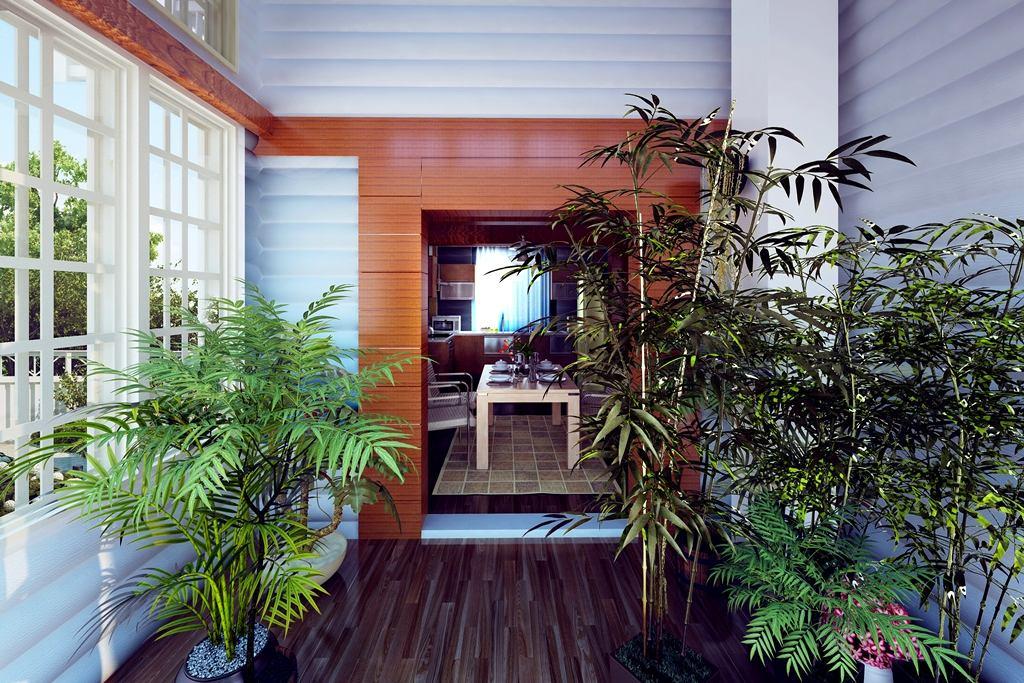 Балкон, веранда, патио в цветах: черный, серый, светло-серый, темно-зеленый. Балкон, веранда, патио в стиле минимализм.