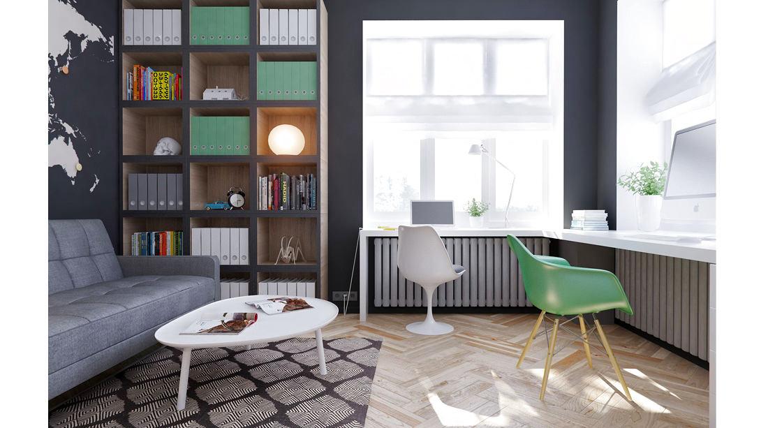 Гостиная, холл в цветах: черный, серый, светло-серый, сине-зеленый. Гостиная, холл в стиле минимализм.