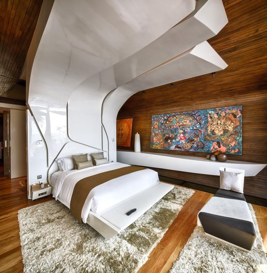 Спальня в цветах: серый, светло-серый, белый, темно-коричневый, коричневый. Спальня в стиле минимализм.