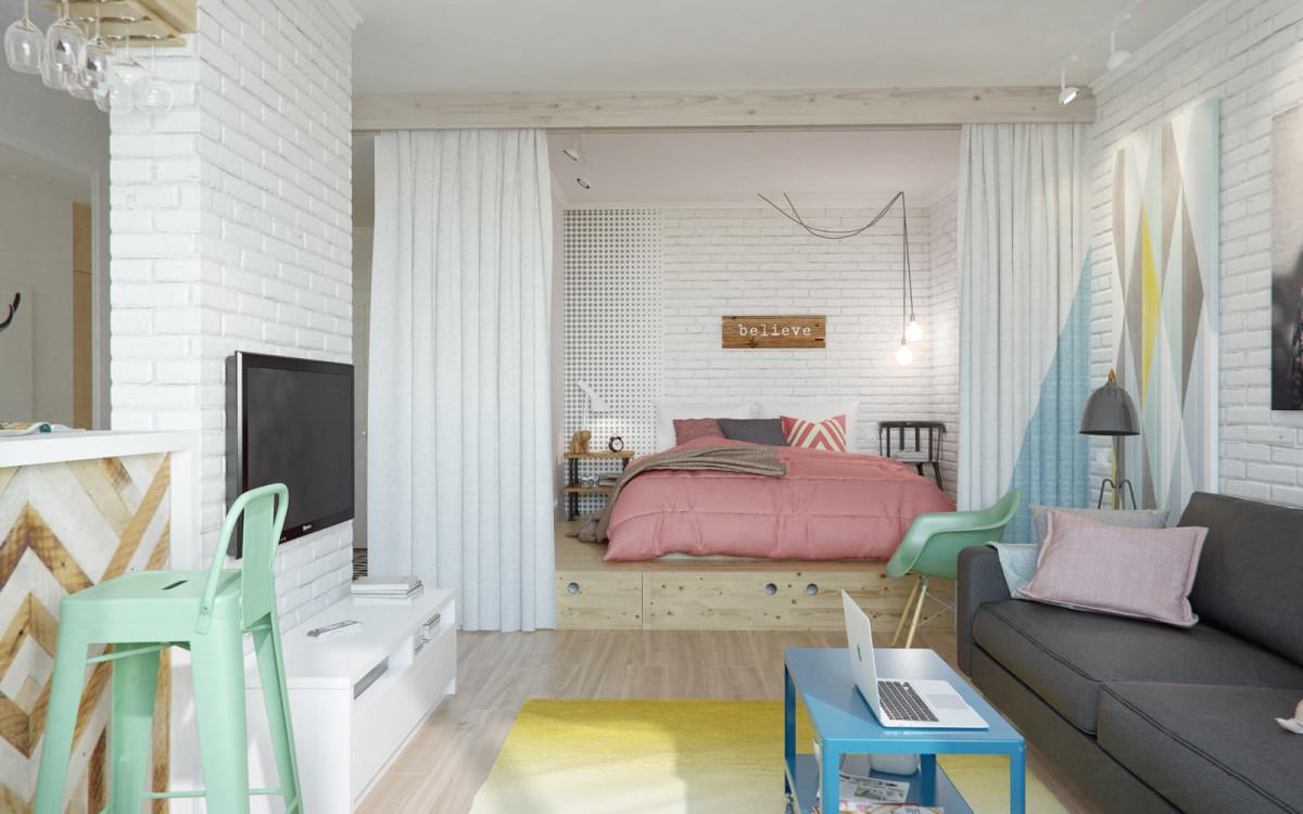Спальня в цветах: серый, белый, розовый, бежевый. Спальня в стиле скандинавский стиль.