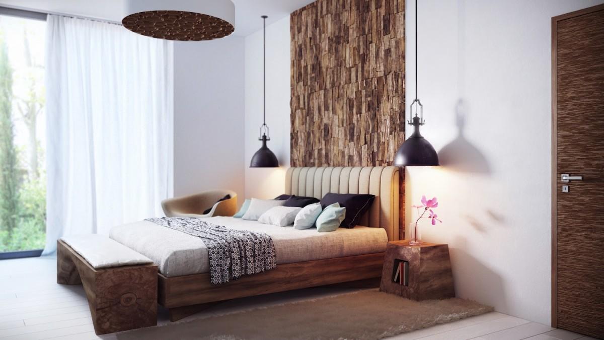 Спальня в цветах: серый, белый, темно-коричневый, коричневый. Спальня в стиле эклектика.