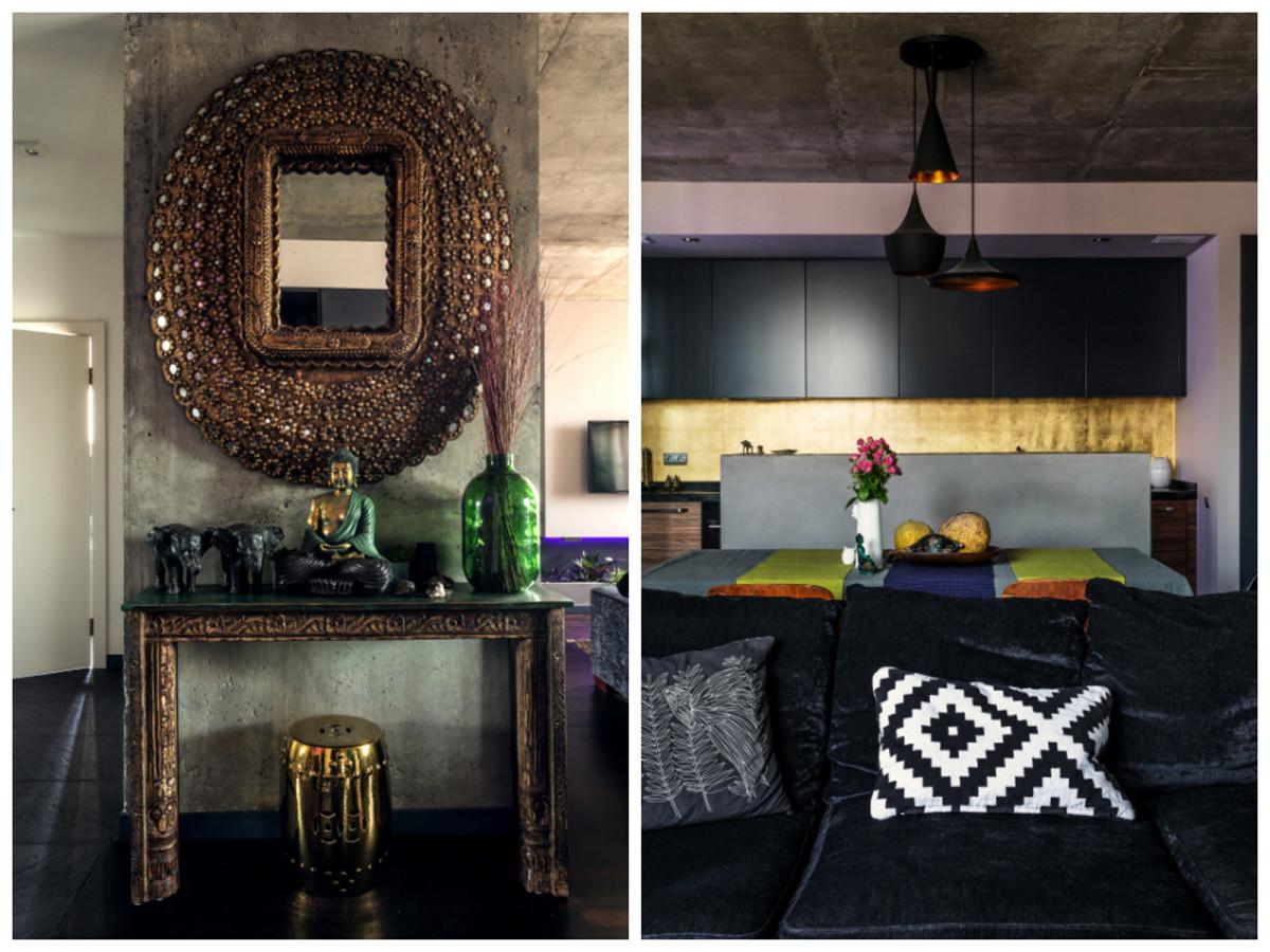 Гостиная, холл в цветах: желтый, черный, серый, светло-серый, коричневый. Гостиная, холл в стилях: минимализм, этника.
