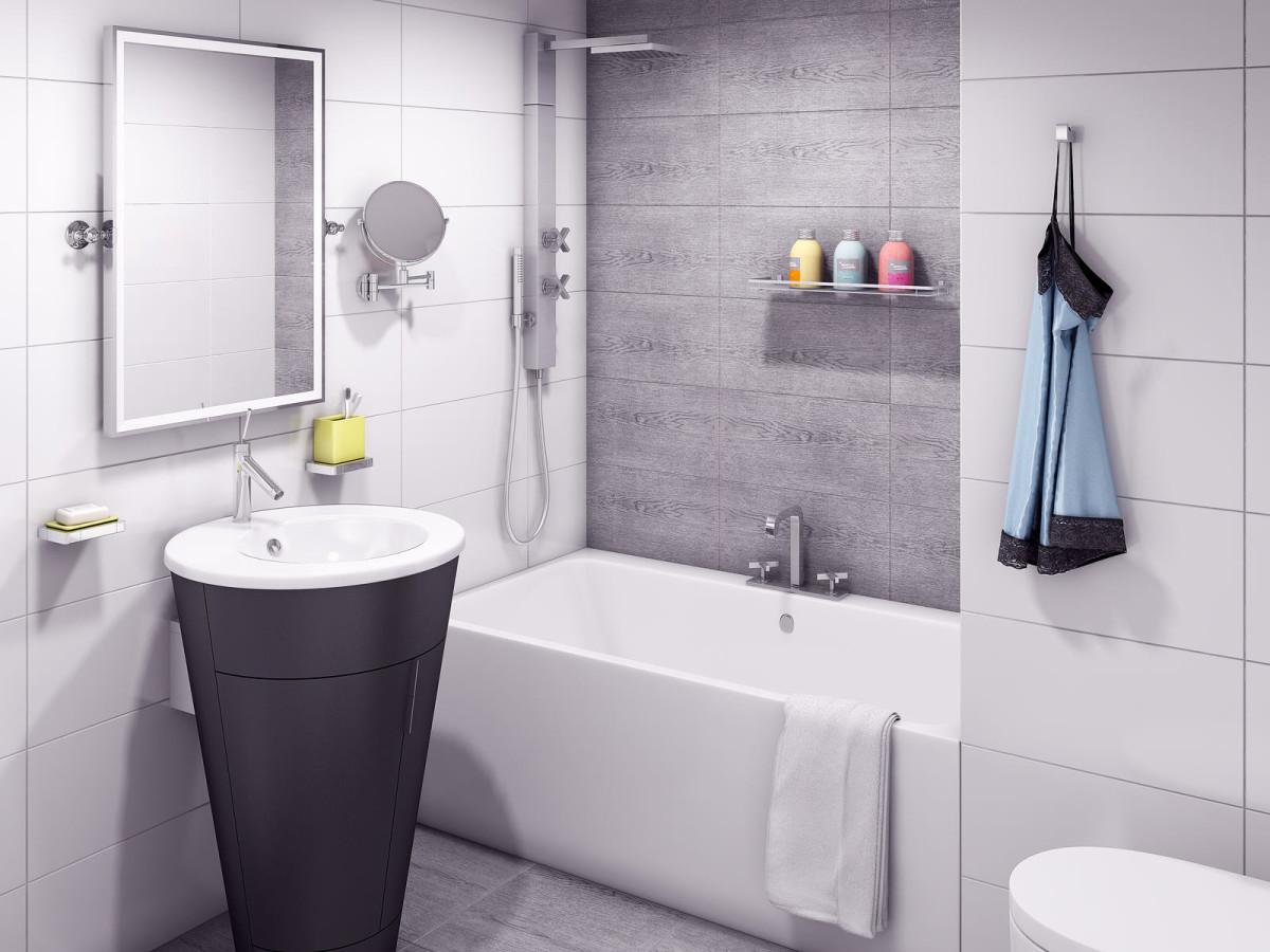 Ванная в цветах: черный, серый, светло-серый. Ванная в стиле минимализм.