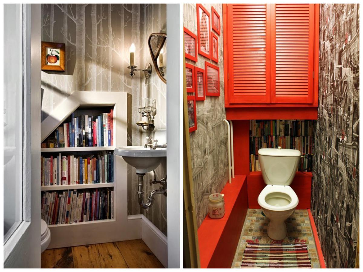 Туалет в цветах: серый, белый, бордовый, коричневый, бежевый. Туалет в стилях: этника.