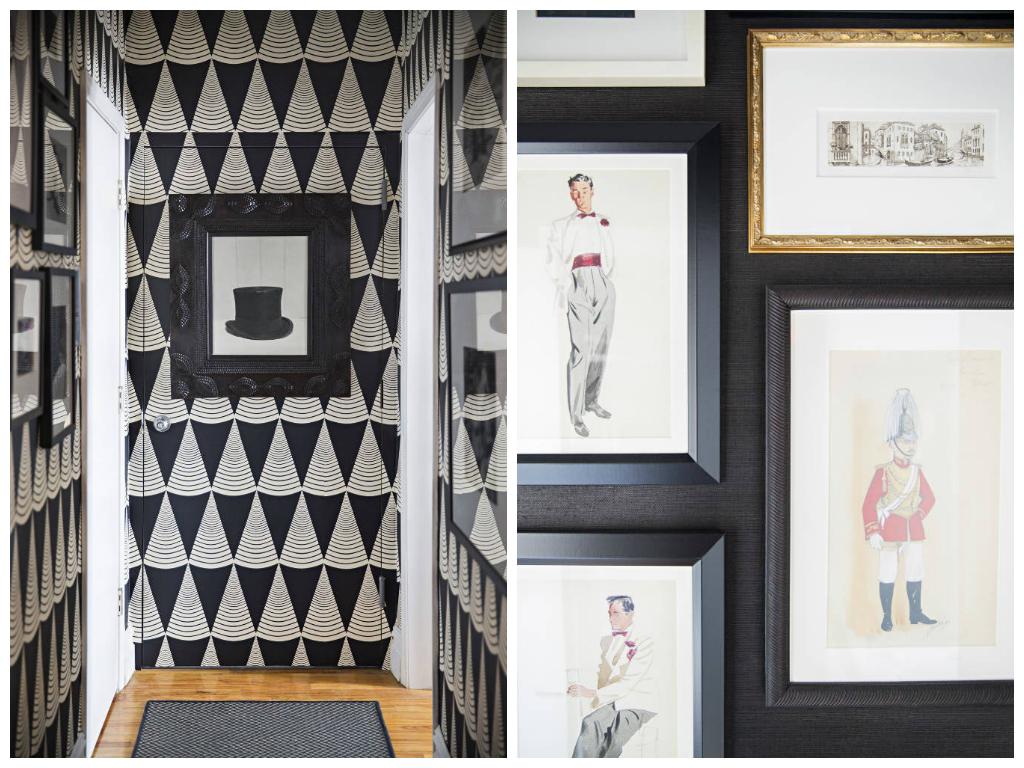 Декор в цветах: черный, белый. Декор в стиле эклектика.