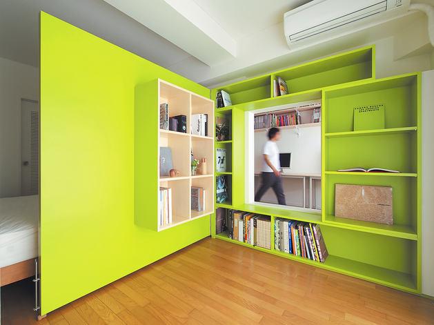 Мебель и предметы интерьера в цветах: светло-серый, лимонный, салатовый, бежевый. Мебель и предметы интерьера в стиле хай-тек.