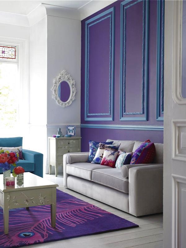 Гостиная, холл в цветах: фиолетовый, серый, светло-серый. Гостиная, холл в стилях: классика, английские стили.