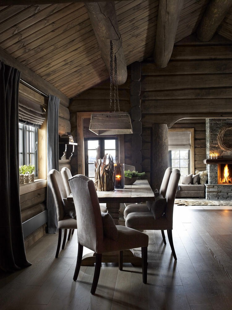 Столовая в цветах: серый, светло-серый, темно-коричневый, коричневый. Столовая в стиле скандинавский стиль.