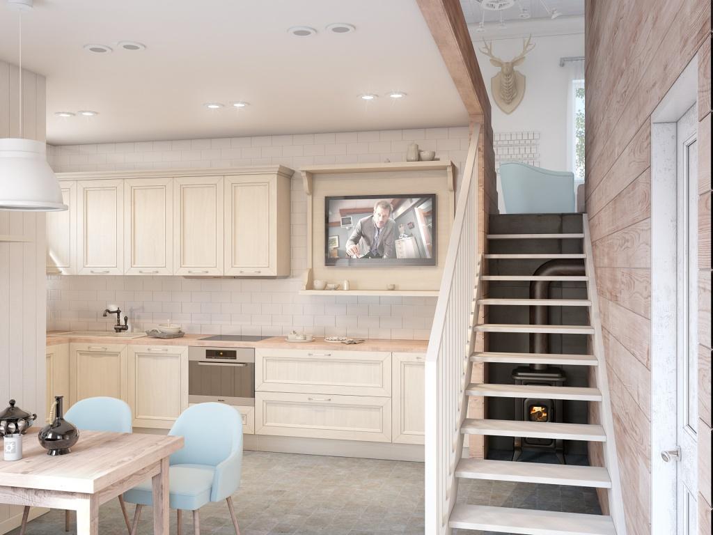 Кухня в цветах: белый, коричневый, бежевый. Кухня в стилях: экологический стиль, эклектика.