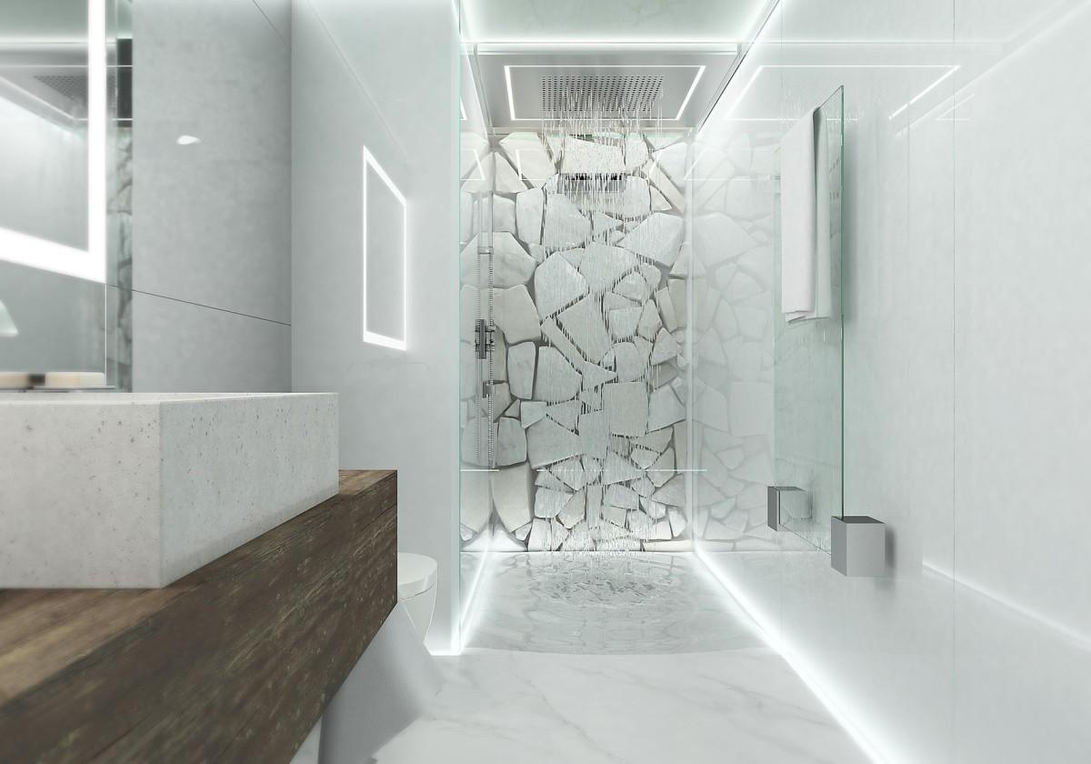 Туалет в цветах: серый, белый. Туалет в стилях: минимализм, экологический стиль.