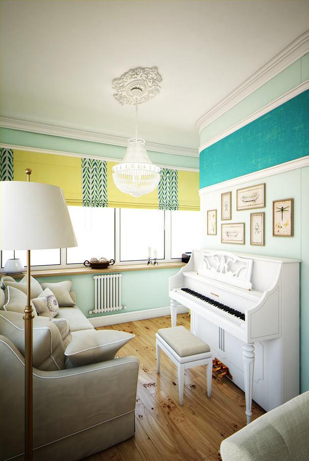 Гостиная, холл в цветах: голубой, светло-серый, белый. Гостиная, холл в стиле эклектика.