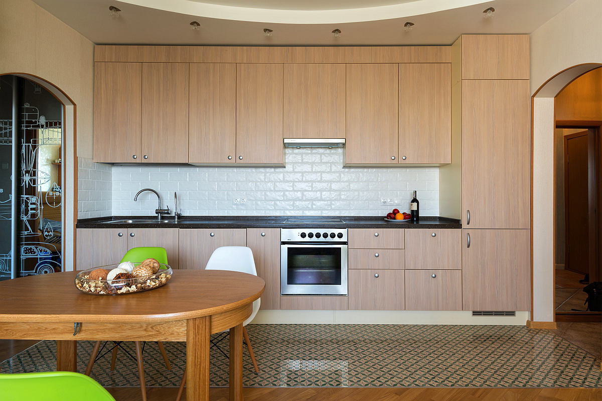 Кухня в цветах: серый, светло-серый, коричневый, бежевый. Кухня в стиле экологический стиль.