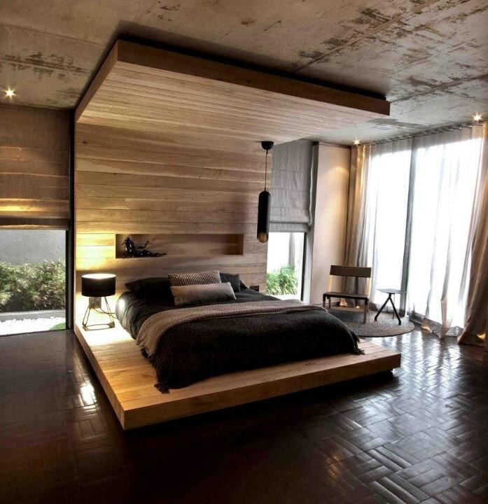 Спальня в  цветах:   Бежевый, Коричневый, Серый, Темно-коричневый, Черный.  Спальня в  стиле:   Минимализм.