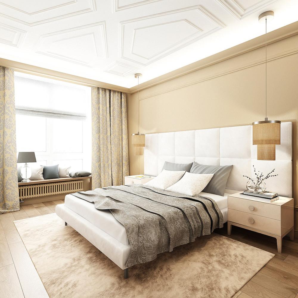 Спальня в  цветах:   Бежевый, Белый, Светло-серый.  Спальня в  стиле:   Минимализм.